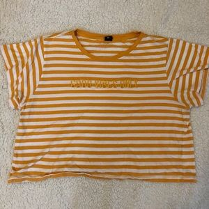 Yellow striped crop top happy vibes only XL